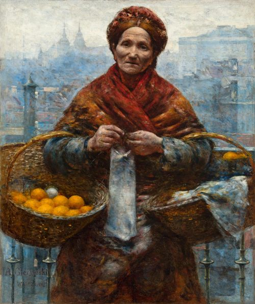 """Pastisz fotograficzny obrazu """"Pomarańczarka"""" Aleksandra Gierymskiego"""